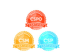 Logos von Certified Scrum Master, Certified Scrum Professional und Certified Scrum Product Owner