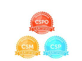 Logos von Certified Scrum Master, Certified Scrum Professional und Certified Scrum Product Owner