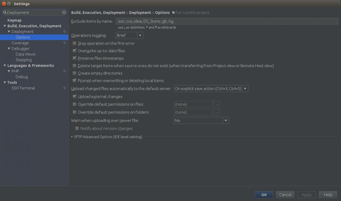 Screenshot der typo3.org Entwicklerbox: Synchronisation im Deployment anpassen