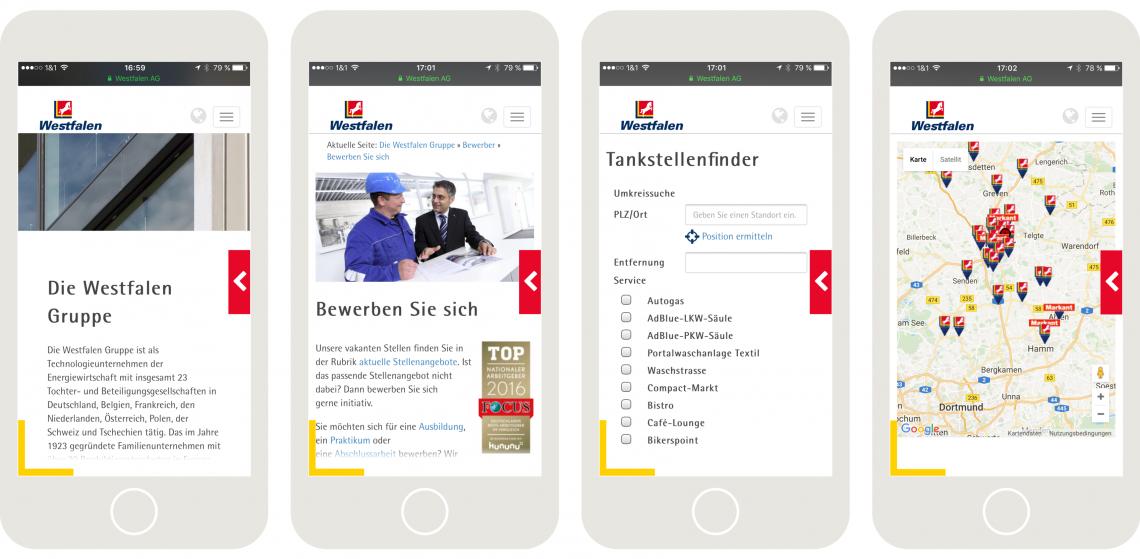 Die mobile Ansicht der Westfalen AG Webseite