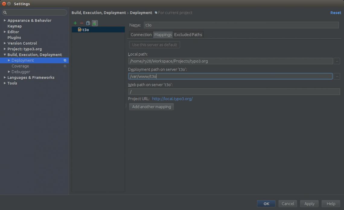 typo3.org Entwicklerbox: Deployment Pfad anpassen