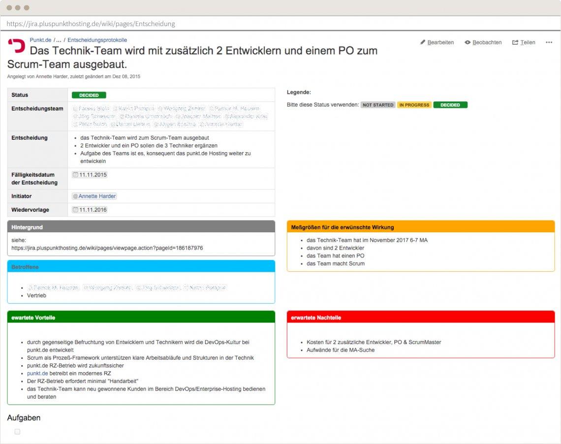 Screenshot einer Vorlage zum Festhalten von Entscheidungen.