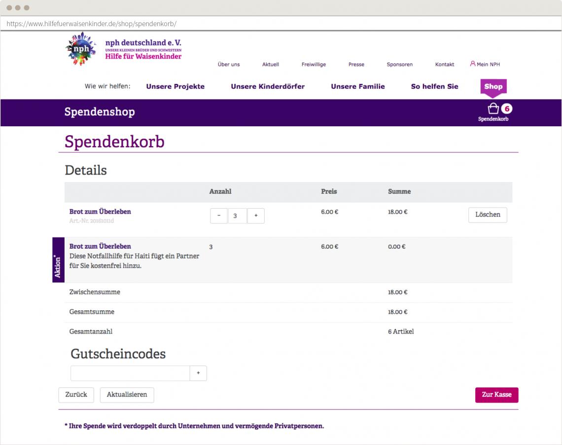 Der Spendenkorb mit Zusatzfunktionen wie der Verdoppelung von Spenden.