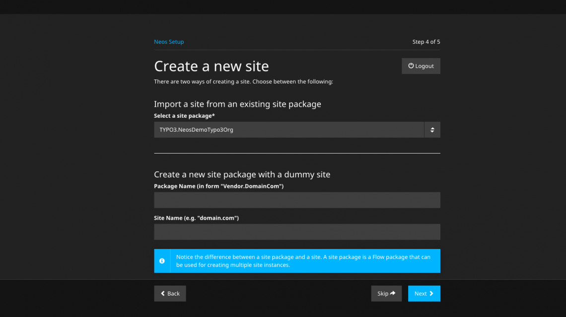 Step 4: Import the site package or create a new one.