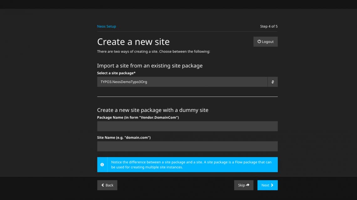 Schritt 4: Importieren oder Erstellen eines Site Packages - ein Screenshot