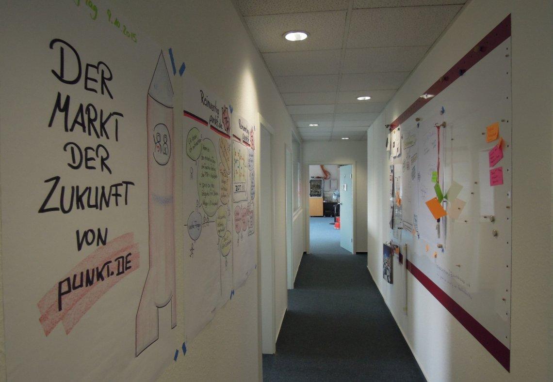Blick auf den Flur von Punkt.de mit neuen Plakaten an der Wand