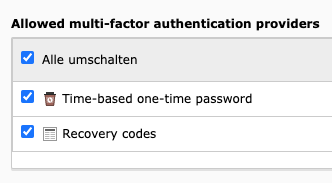 Allowed multi-factor authentication providers