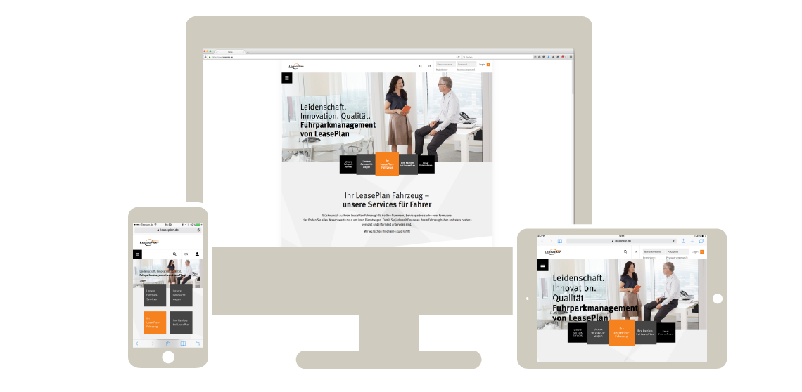 Abbild des Webdesigns von LeasePlan auf Desktop, Tablet und Smartphone