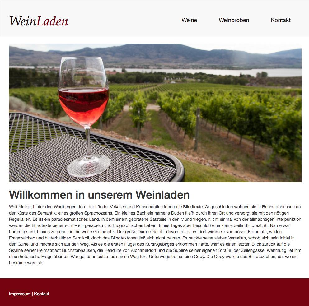 Ansicht der Weinladen Seite nach unserem Workshop
