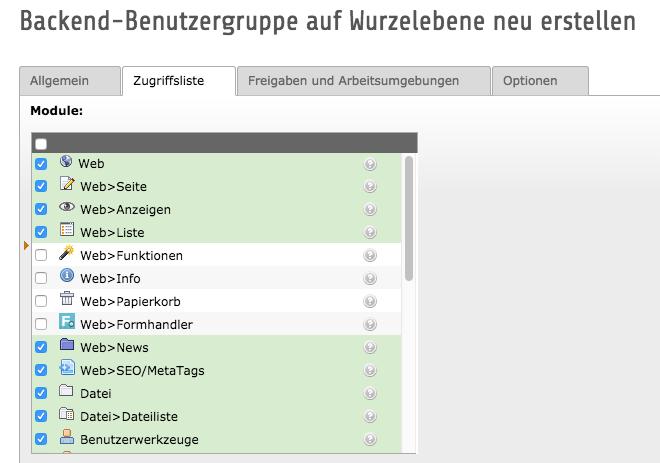 Screenshot des TYPO3 Backendes mit Benutzergruppen