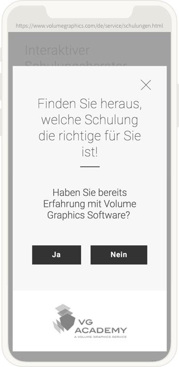 mobile Ansicht des Volume Graphics Schulungsfinders