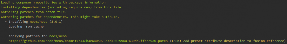 Das Terminal zeigt: Beim Aufruf von composer install wird der Patch eingefügt.