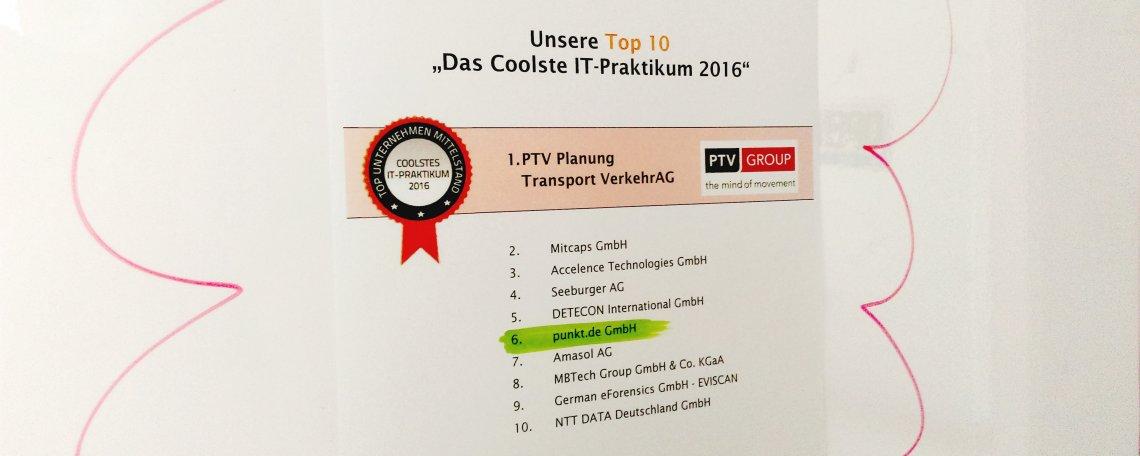 punkt.de belegt den 6ten Platz beim coolsten IT-Praktikum 2016