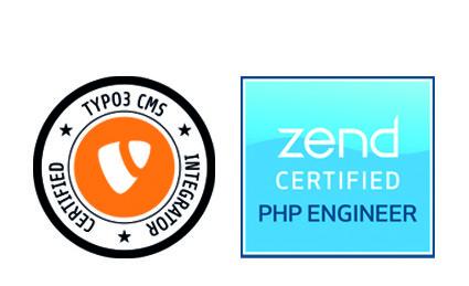 TYPO3 Integrater und php Engineer Zertifikats-Abzeichen
