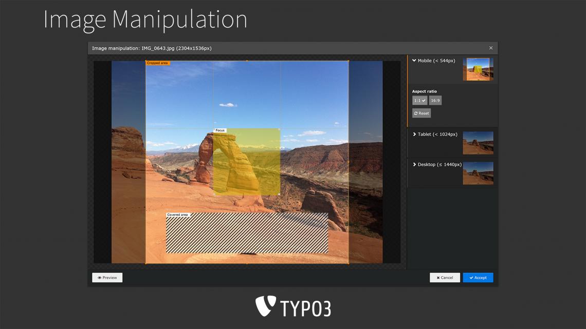 Screenshot von TYPO3 8 LTS Backend, Bildbearbeitungsmodul