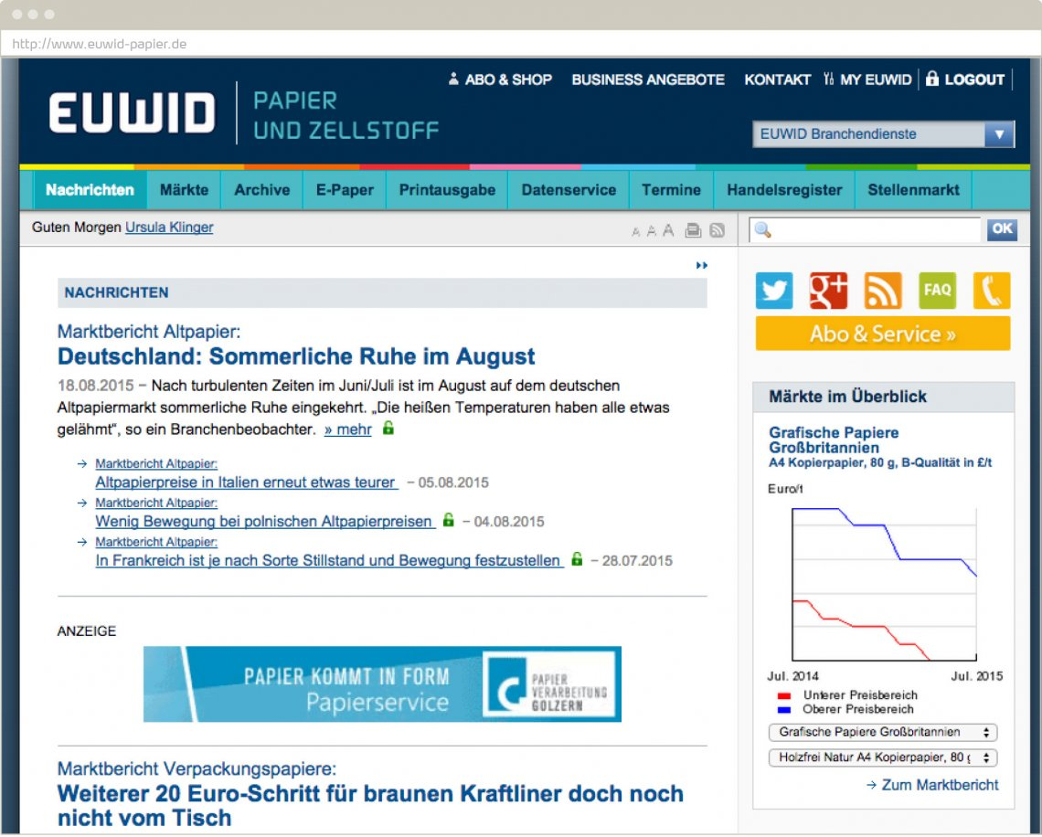 Screenshot: EUWID Website