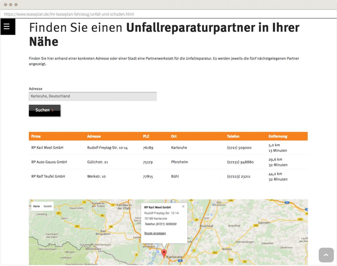 Screenshot derLeasePlan Website. Die Werkstatt-Suchfunktion erleichtert den Gang in die Werkstatt.