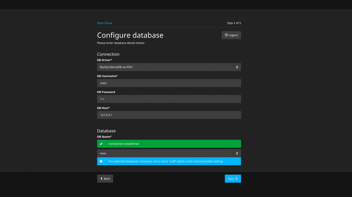 Schritt 2: Datenbankzugangsdaten eingeben und Datenbank auswählen - ein Screenshot