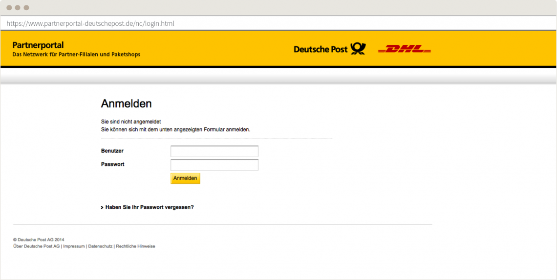 Screenshot: Login Screen des Partnerportals der deutschen Post