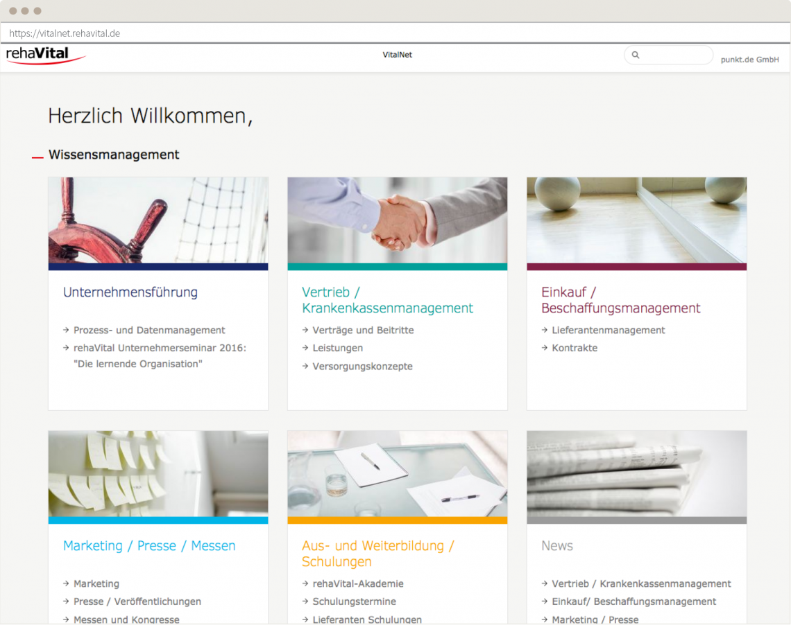 Screenshot: Startseite des Intranetportals Vitalnet von rehaVital nach dem Relaunch