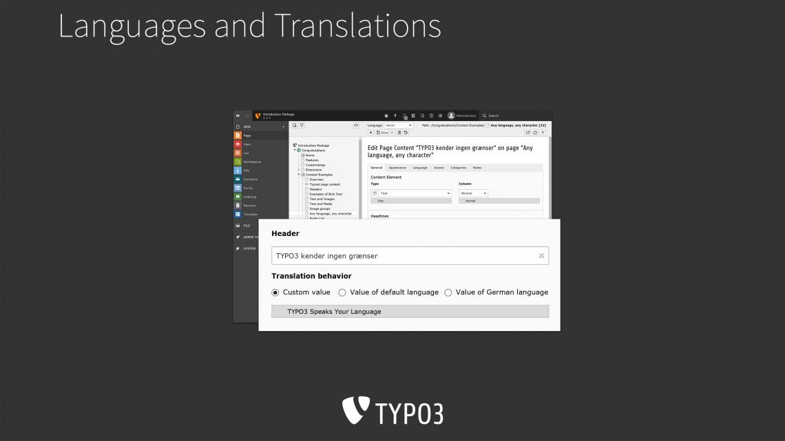 Screenshot von TYPO3 8 LTS Backend, Mehrsprachigkeit