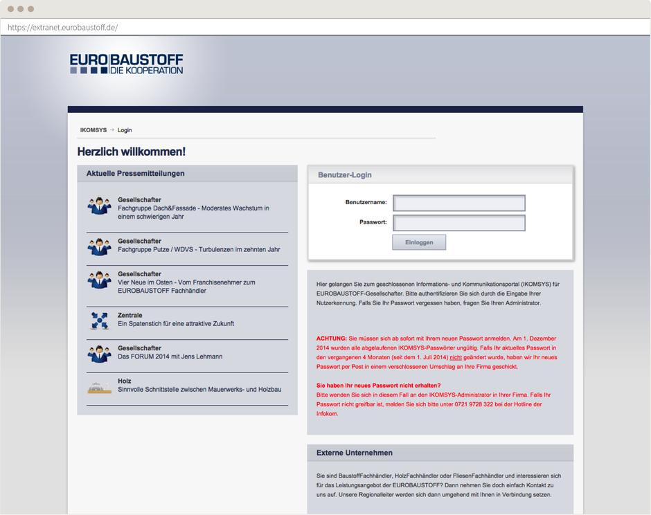 Startseite des Eurobaustoff Webportals