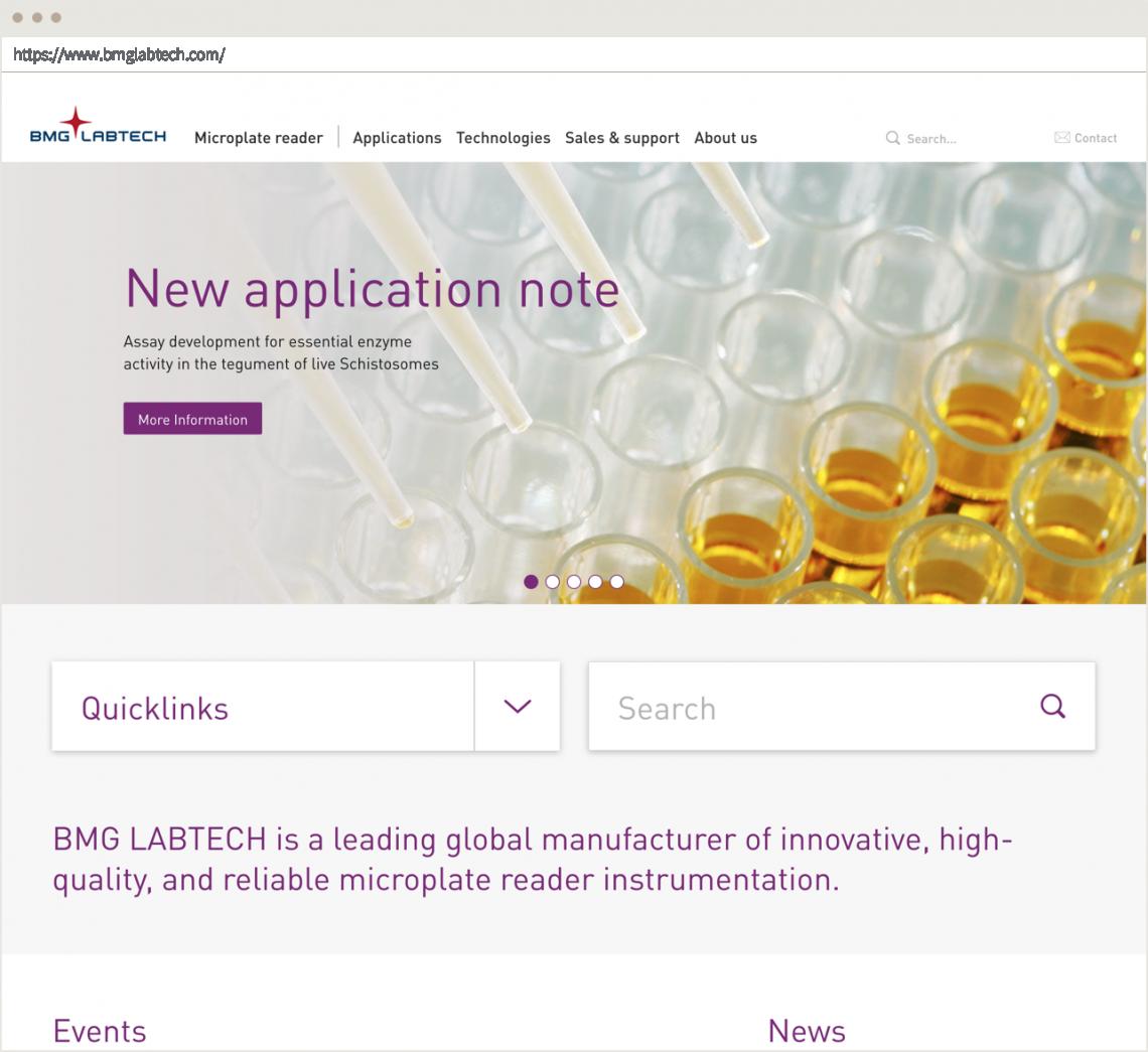 Screenshot der BMG Labtech Startseite