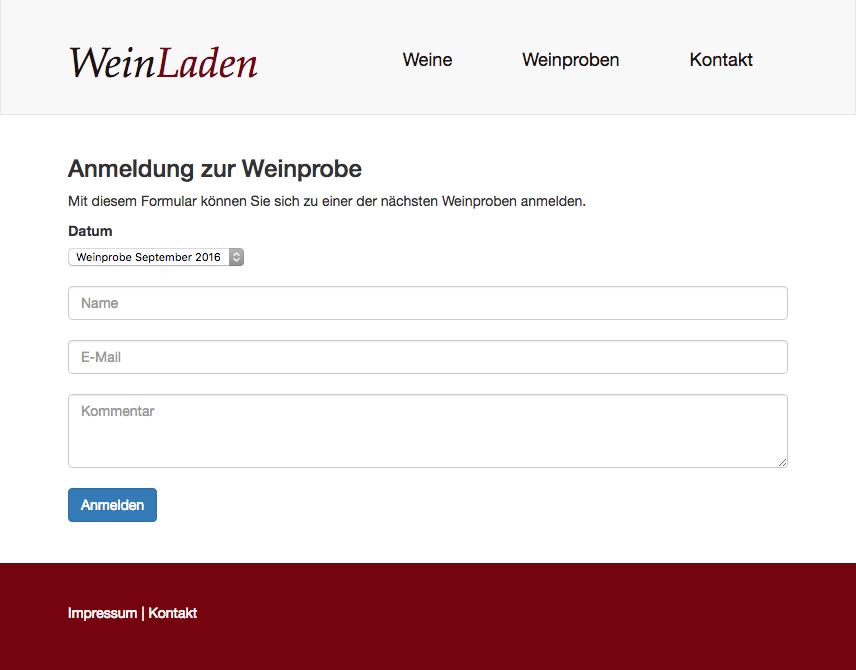 Screenshot des Online-Formulars für die Anmeldung zur Weinprobe